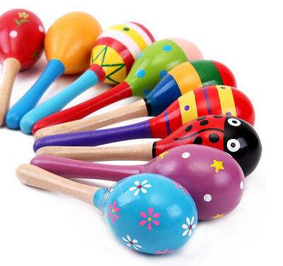 Maraca Wood Rattles Kids Musical Party favour Baby shaker Toy UK 2pcs
