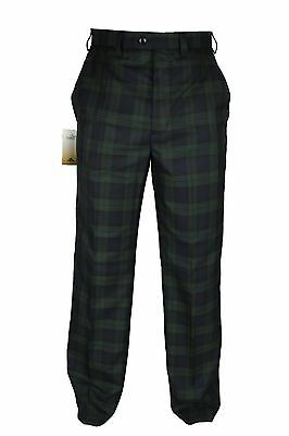 Mens TARTAN Check Black Watch Scottish Trousers 30-48 Straight Leg Golf Pant NEW