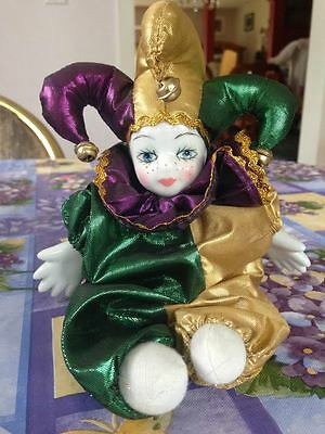 Vintage New Orleans Mardi Gras JESTER Clown Porcelain Doll  Brand New Perfect