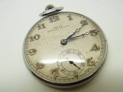 Rare Rolex Pocket Watch Stainless Case with Blue Jewels