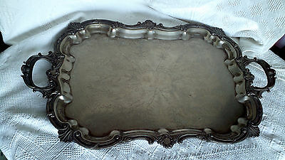 Antique Victorian Butler's Tray Silver Plate Large Serving Etched Stamped Heavy