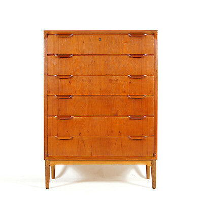 Retro Vintage Danish Teak Tall Boy Chest of Drawers 60s 70s Scandinavian Modern