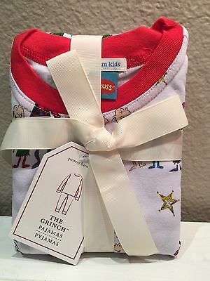 Nwt Pottery Barn Kids Dr. Seuss Cotton Tight Fit 2 Pc Pajamas~The Grinch~Size 8