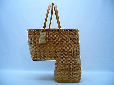 Nantucket Hand Crafted Stair Step Basket Honey Brown Hard Bottoms Woven Wood