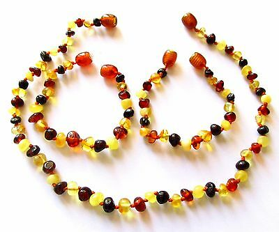 Baltic natural amber necklace or/and bracelet anklet baby to children size multi