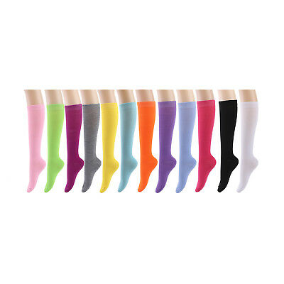 Knee High Socks Women lady Girl Uniform School 12 Pairs Size 9-11 Wholesale Lot