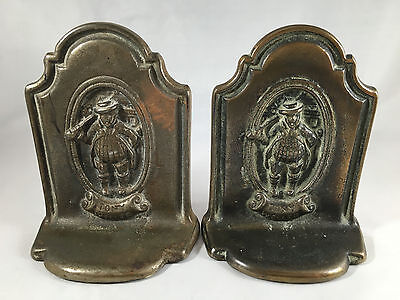 RARE Antique Tony Weller Cast Iron Bookends Pickwick Charles Dickens 1920 Vtg