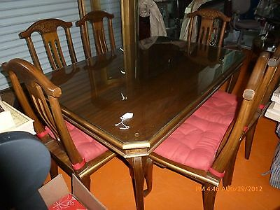 Teak Dining Table with Gold Inlay and 6 Chairs See Photos