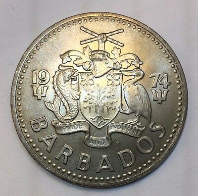 1974 Barbados 5 Dollars Large World Coin Special Issue Rare 3,958 Minted