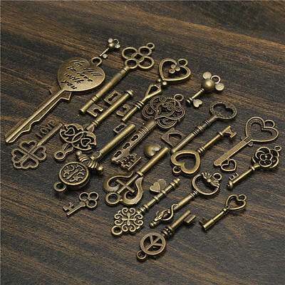 19Pcs Antique Vintage Old Look Skeleton Key Set Lot Pendant Heart Bow Lock Steam