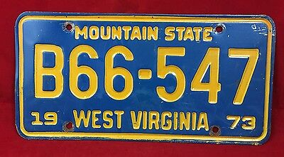 1973 West Virginia Mountain State Truck License Plate Tag B66-547