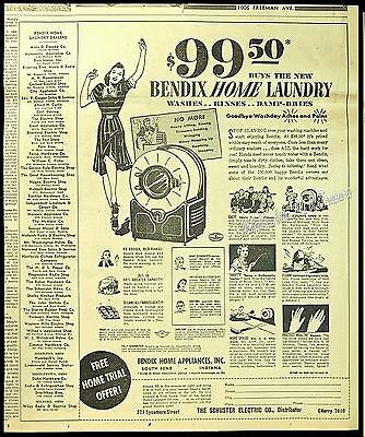 1940 BENDIX Home Laundry Washer Washing Machine Appliance RARE Vtg Newspaper AD