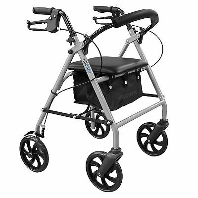 Folding Lightweight Rollator Wheeled Walking Frame 4 Wheel Mobility Walker