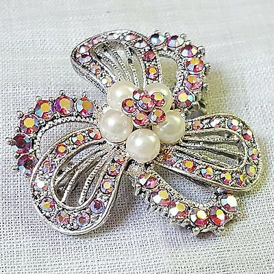 Pink rhinestone & white faux pearl floral brooch or pin very sparkly