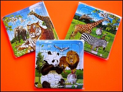 Bulk Lot x 3 Kids Zoo Jungle Animals Jigsaw Puzzles NEW Party Favor Novelty Toy