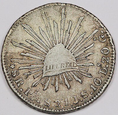 """Mexico 1831 Pi JS """"CAP AND RAYS"""" 8 Reales Silver Coin VF/XF Scarce Date"""