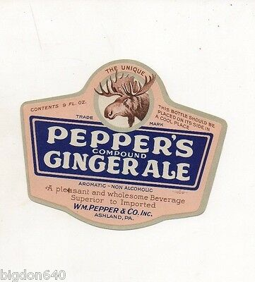 9oz PEPPERS GINGER ALE BOTTLE LABEL by WM PEPPER & CO  ASHLAND PA