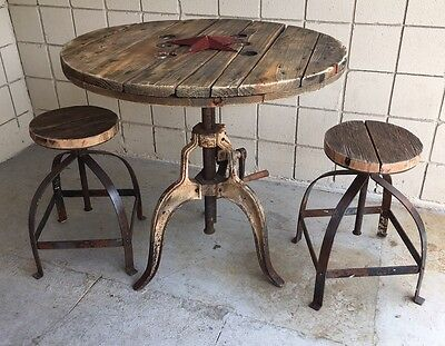 Vintage Industrial Steampunk Wood And Iron Adjustable Crank Table And Stools