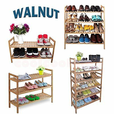 2/3/4/6 Tier Walnut Wooden Shoe Rack Storage Organiser Shelf Stackable Stand