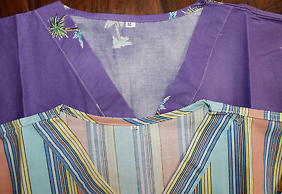 Lot Of 2 FLORAL & STRIPED Scrubs Handmade Multi-Color TOP Cotton Women Size M