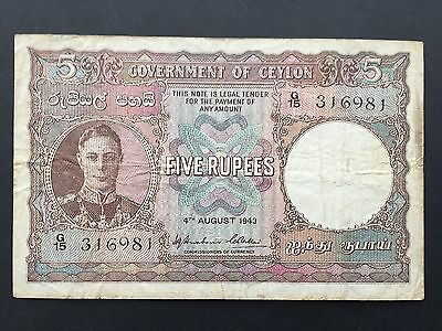 Ceylon 5 Rupees P36a King George VI Dated 4th August 1943 Fine