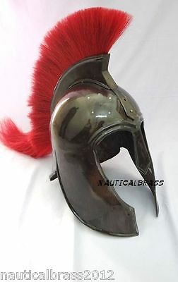 Troy Armor Helmet Medieval Knight Replica Black Antique With Red Plume
