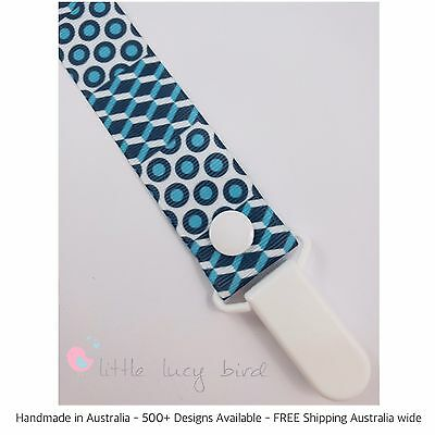 Geometric Pattern - Blue Dummy Clip - Pacifier Clip - Chain (DC100370)