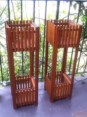Vintage Retro Wooden Timber Plant Stand Pair Planter Box Matchstick Mid Century