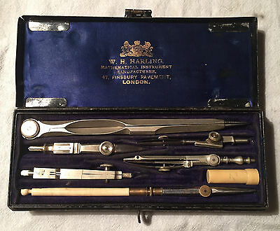 W H HARLING 47 Finsbury Pavement London 19th Century Drafting Set in Metal Box