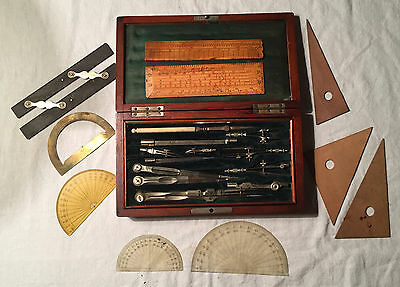 Antique 19th Century Architect Engineers Drafting Set Drawing w Parallel Ruler