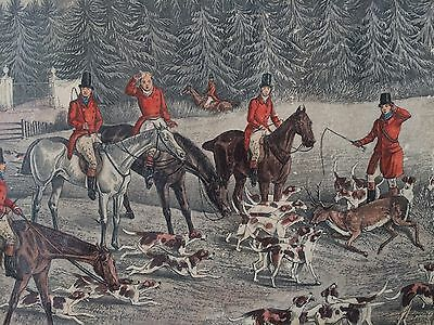 VICTORIAN HAND COLOURED FOX HUNTING PRINT ORIGINAL FRAME EQUESTRIAN HORSE c1870s