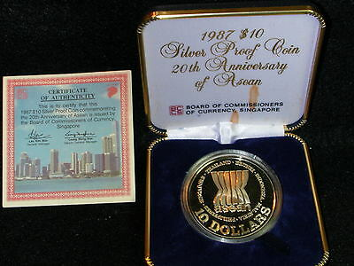 S-50: SINGAPORE Silver PROOF,10 $,1987,20 Years ASEAN , cw Cert/Case