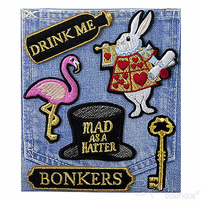 ALICE IN WONDERLAND PIN-ON PATCH BADGES x6 -Mad Hatters Tea Party Favours/Gifts