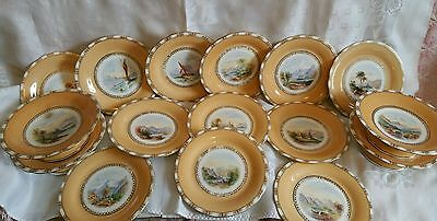 Antique handpainted topographical complete dessert service for 12 fruit  plates