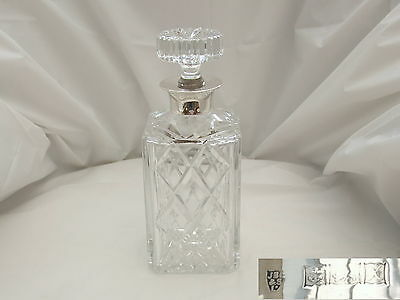 Superb Qe Ii Hm Sterling Silver Cut Glass Decanter 1972