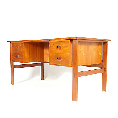 Retro Vintage Danish Double Pedestal Teak Office Desk Mid Century Modern 60s 70s