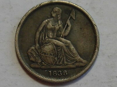 1838-O No stars Seated Liberty Silver Dime - Extra Fine, XF - KEY DATE