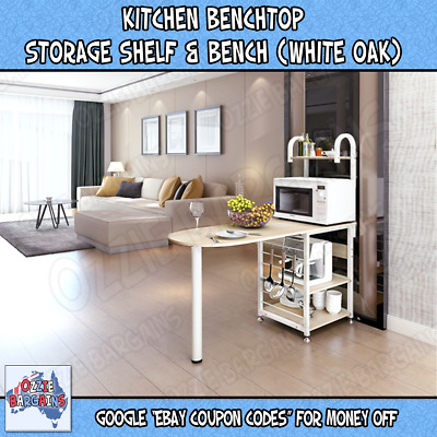Kitchen Bench top Island Modern Storage Space Shelf Bench Cabinet - White