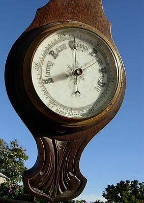 Art Nouvea Aneroid BAROMETER THERMOMETER  Antique Carved Wood ORNATE