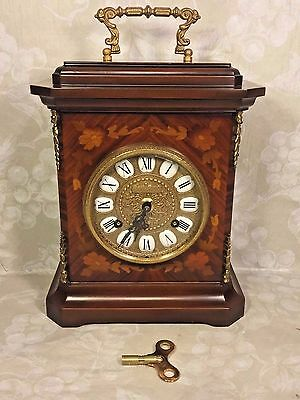 Vintage Imperial Mantel Clock w/ Inlaid Wood Case Bell Strike Marquetry Case FHS