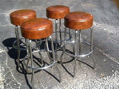 "4 Matching Vintage Retro 31"" High Bar Stools - Chrome / Vinyl - Very Good"