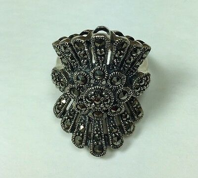 Sterling Silver Marcasite Plume Ring Vintage Estate Pc Size 7-3/4