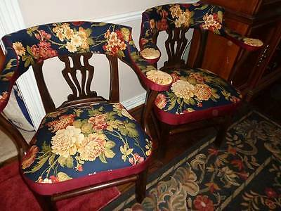 Antique Pre Wwi Solid Mahogany Chairs, New Fabric, Smoke & Pet Free Environment