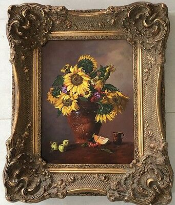 Continental School Original Oil Painting On Board Still Life Sunflowers