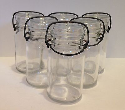 Vintage Lot of 6 Anchor Hocking Clear Glass Jars W/Wire Bales