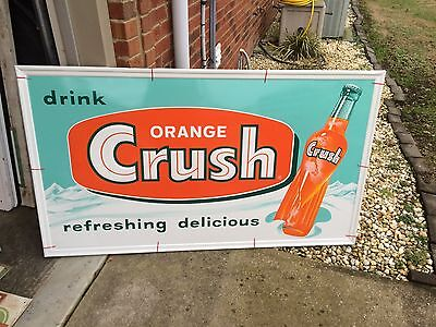 "Vintage Original 1959 Orange Crush Soda Embossed Bottle Sign 56"" X 32 Mint Day 1"