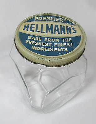 Vintage 1930 Hellmann's Mayonnaise Products Best Foods 1 Qt Jar w/ Original Lid!