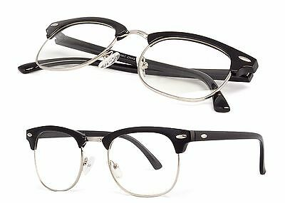 Retro Clubmaster Gold Clear Lens Nerd Glasses Men's Women's Half Metal Frame