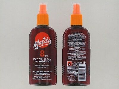 Malibu Spf15 / 10 & 8 Dry Oil Spray 200Ml/100Ml Medium Protection Uva / Uvb