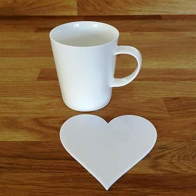 Heart Shaped White Gloss Acrylic Coasters, Sets of 4, 6 or 8, 11cm 4""